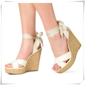 Glitter Lace Up at Ankle Wedge Sandals NWOB